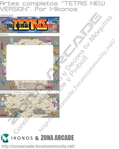"Artes completos para decorar la máquina recreativa ""Tetris New Version"""