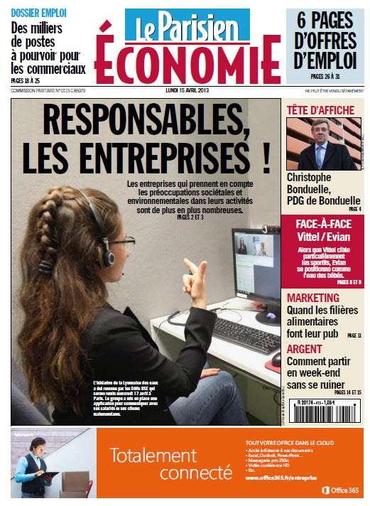 Le Parisien cahier Économie Lundi 15 Avril 2013