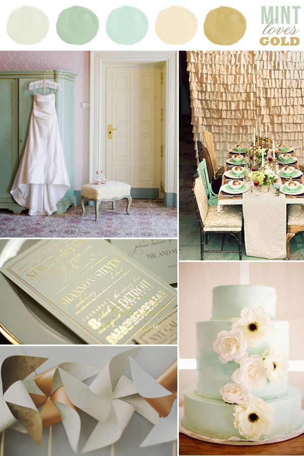 Hey look color loves mint - Gold and silver color scheme ...
