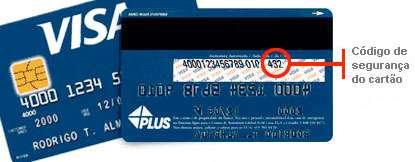 Localização do código de segurança do cartão de crédito