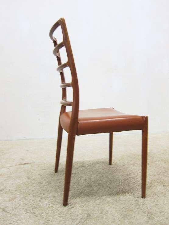 niels o moller model 82 teak leather chair highback. Black Bedroom Furniture Sets. Home Design Ideas