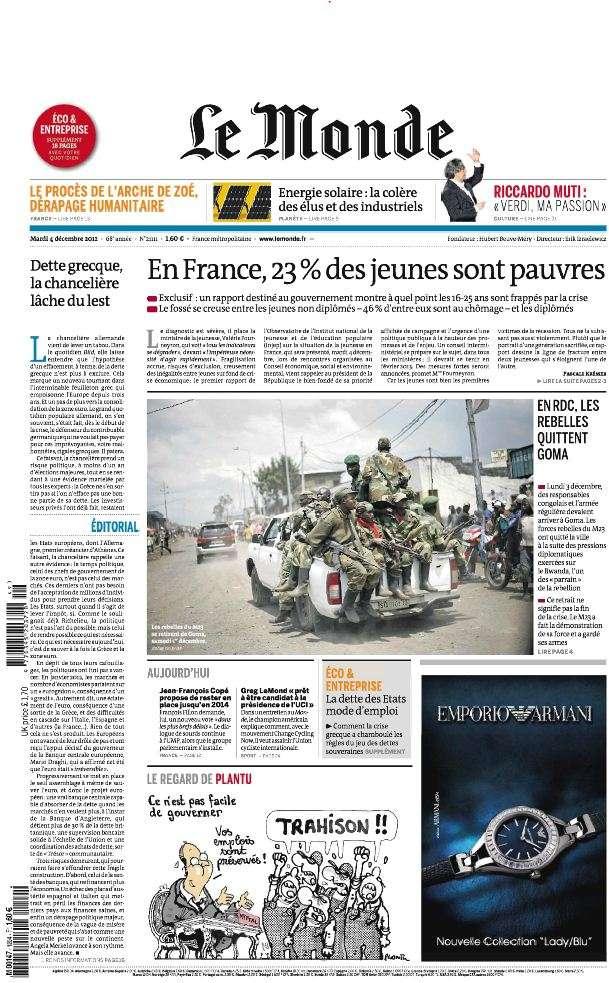 Le Monde et Supplément Economique du Mardi 4 Décembre 2012